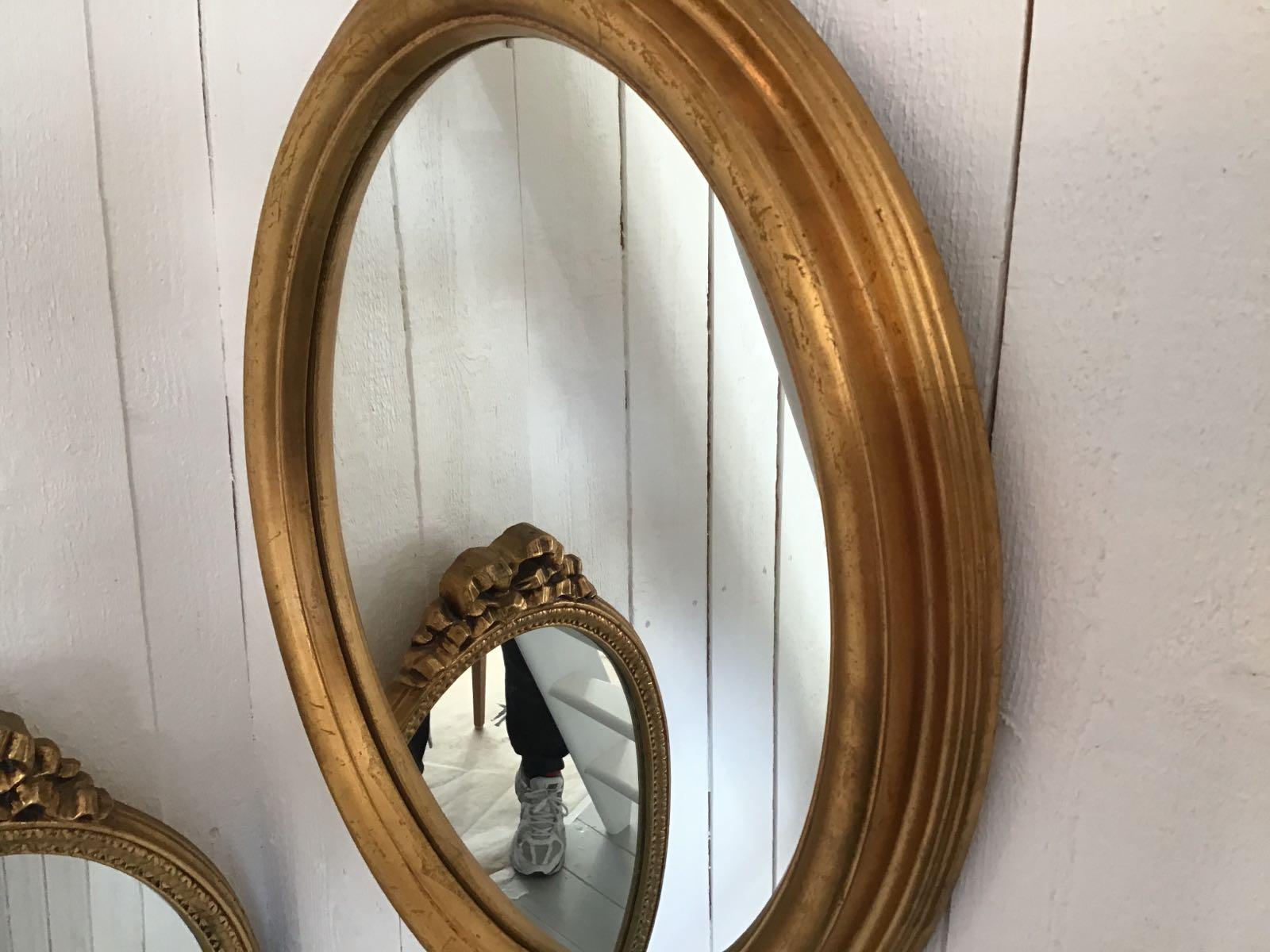 """Spegel oval kraftig ram (second hand, vintage, retro) - OBS! Skickas ej - Se vidare """"Hämtas i butik"""" i huvudmenyn"""