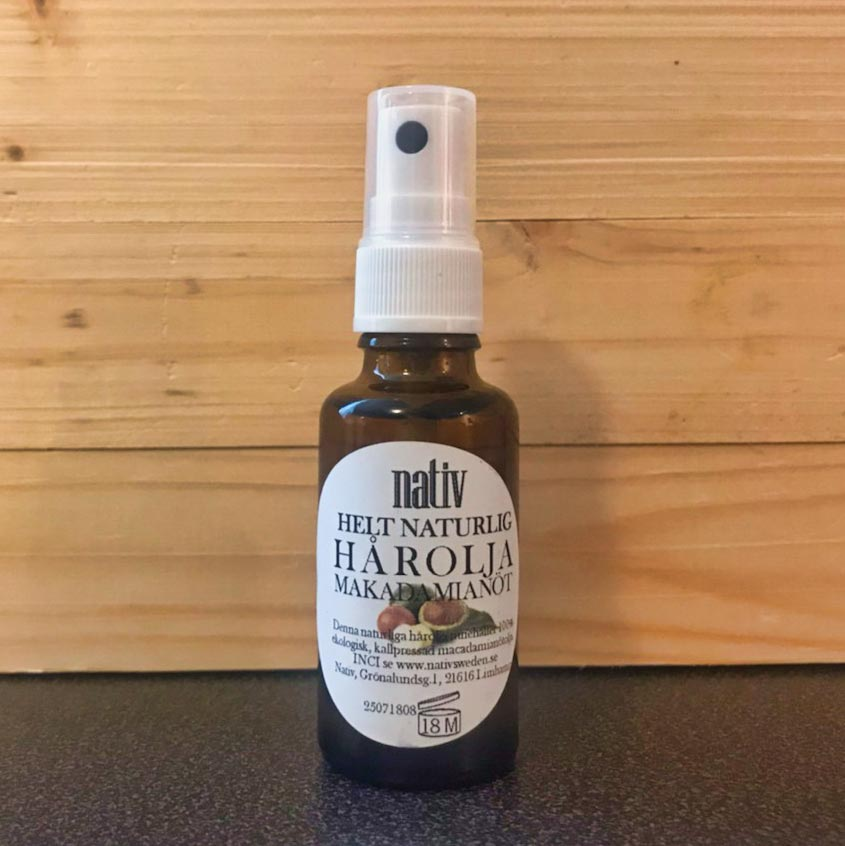 Helt naturlig hårolja med macadamianötolja