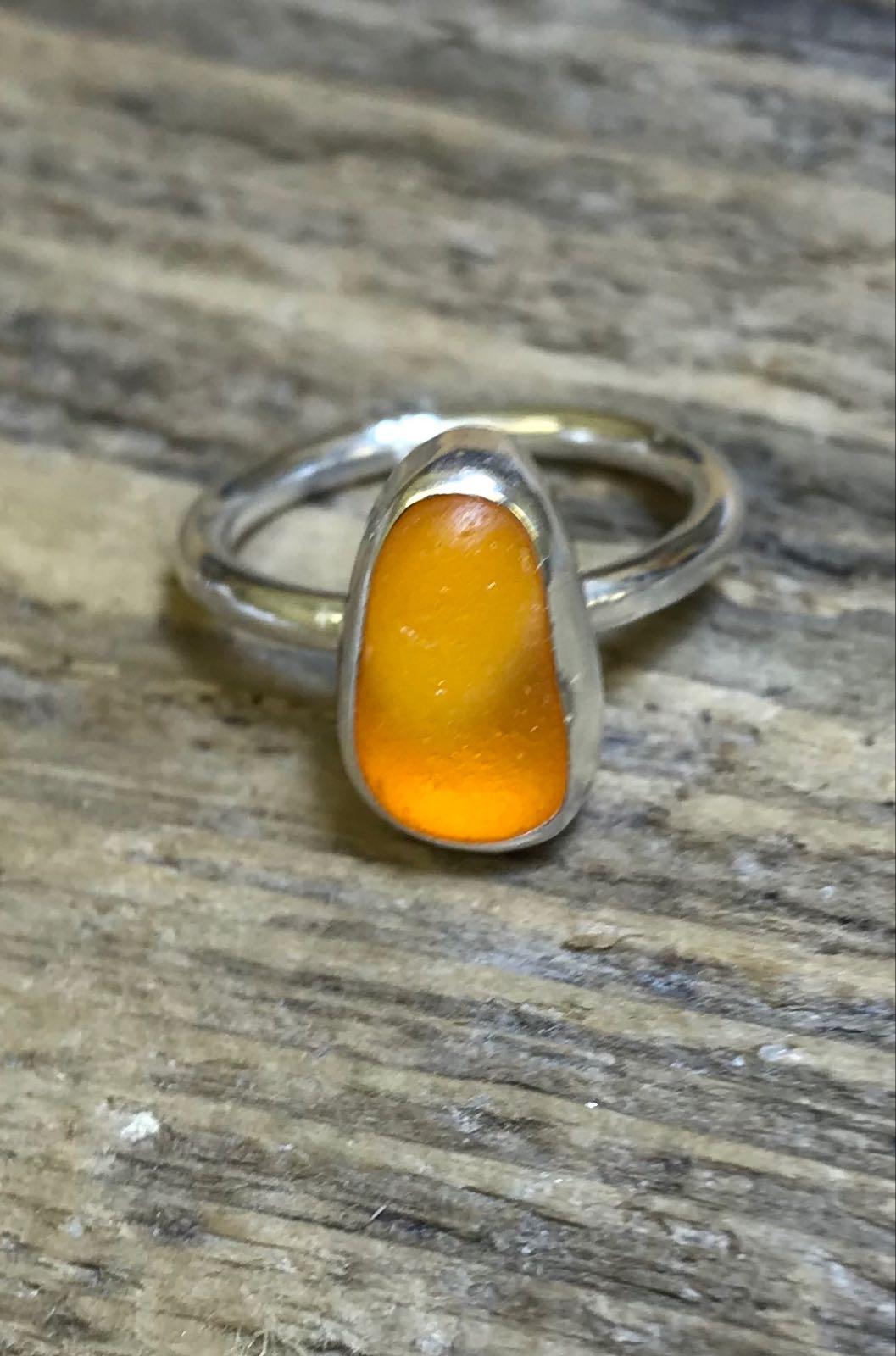 RE200 Seaham Sea Glass Ring Seaham Orange J 3/4