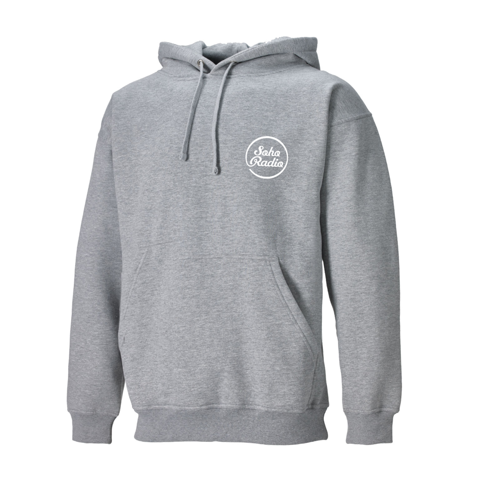 Soho Radio Grey Hoodie with White Logo