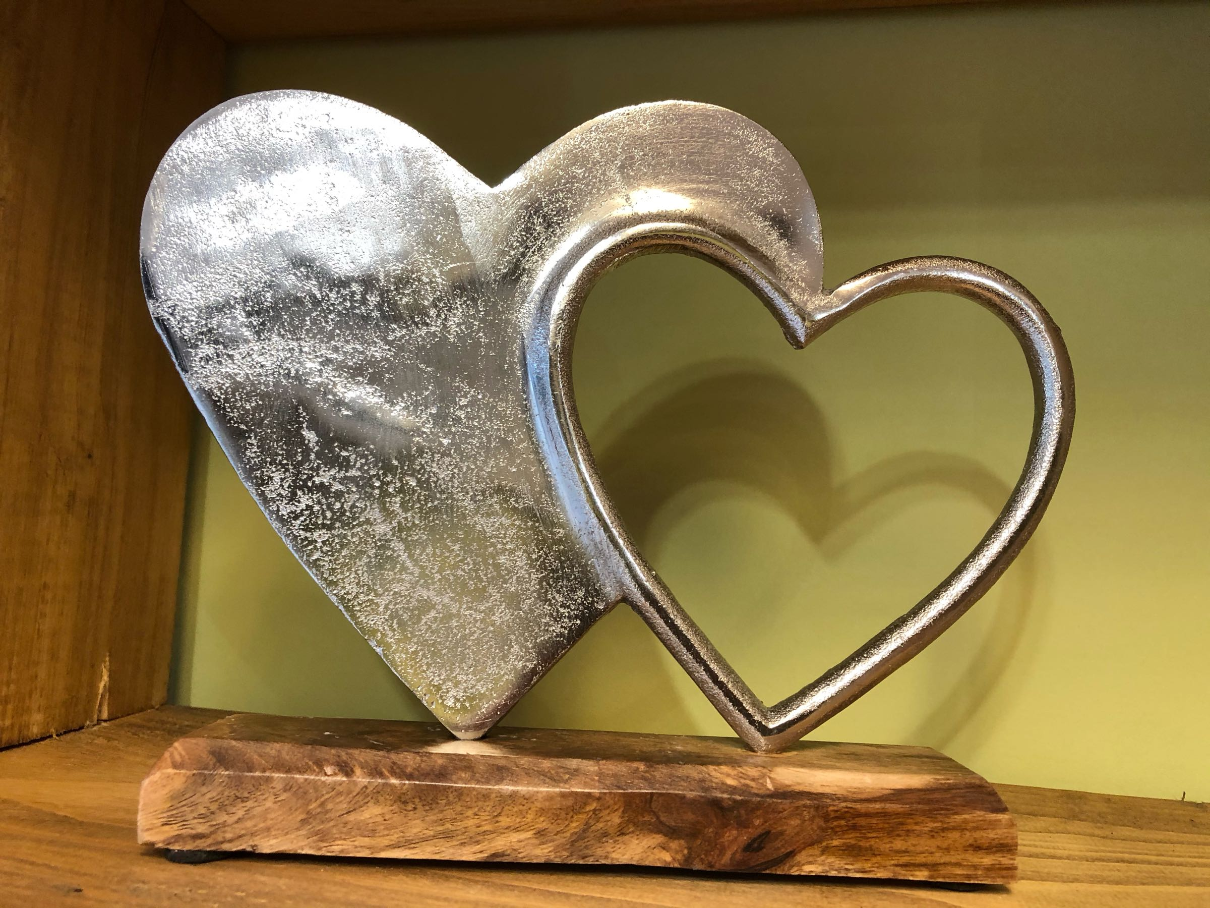 Double aluminium hearts on block 24.5cm