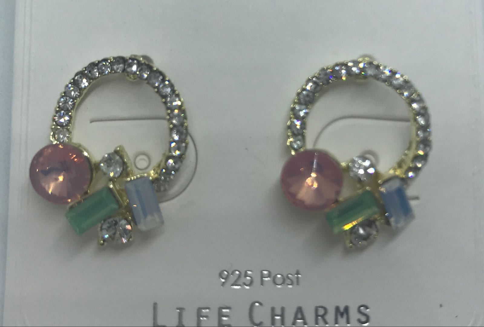 Life Charms collection of gems on circle stud earrings
