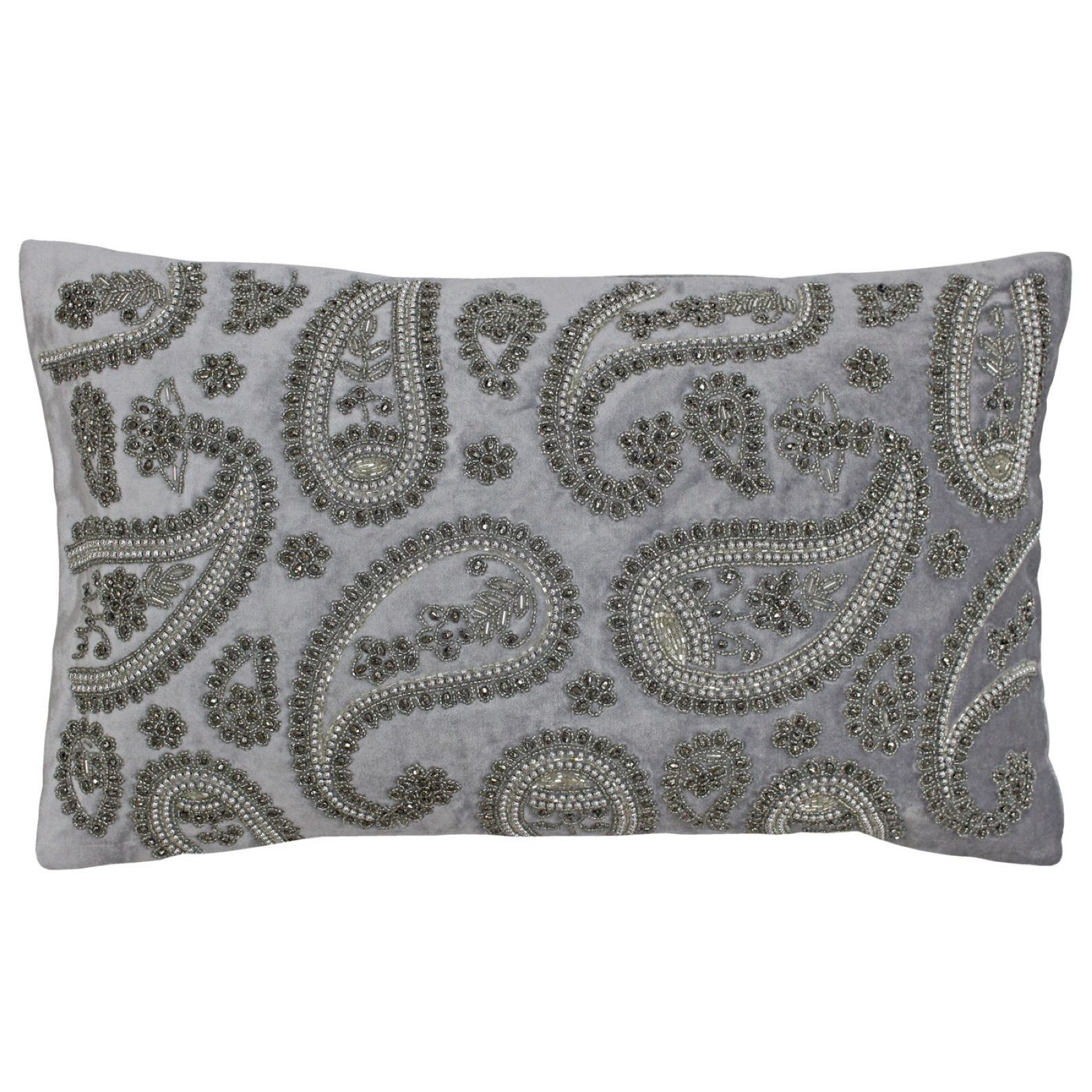 Cochin feather filled 30x50cm silver cushion  was £35