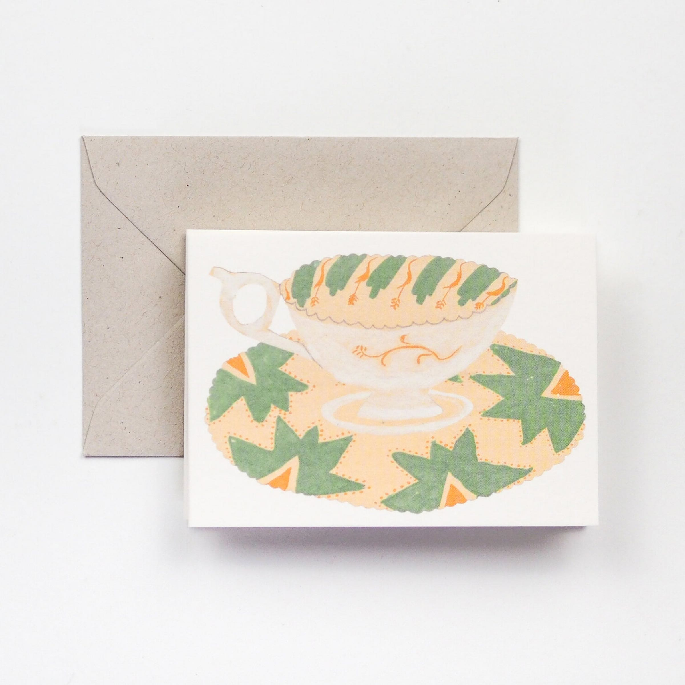 Cups and Saucers fold out card by Hadley Paper Goods