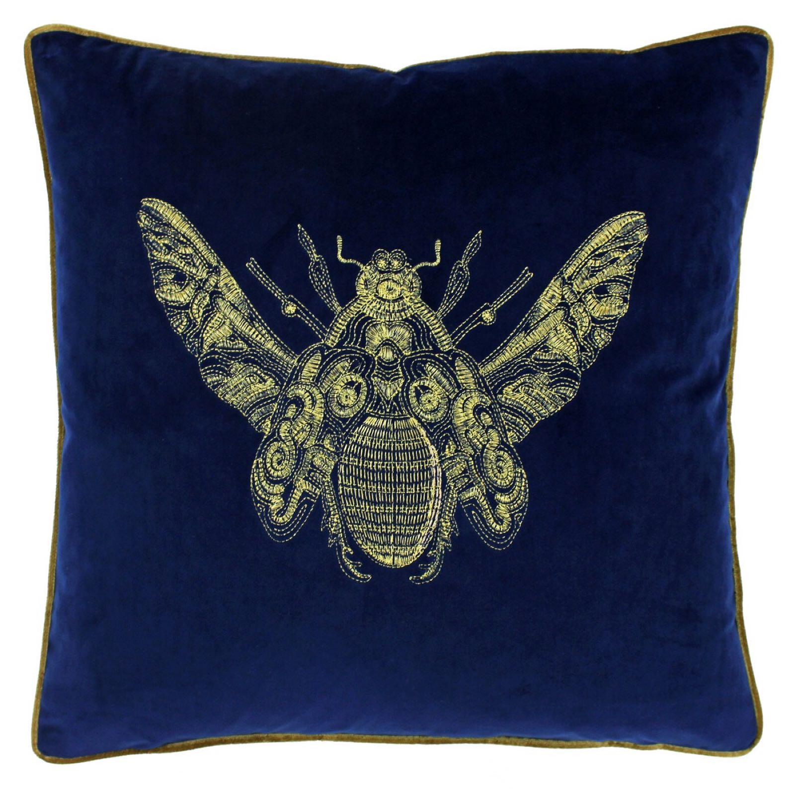 Cerana bee cushion in navy