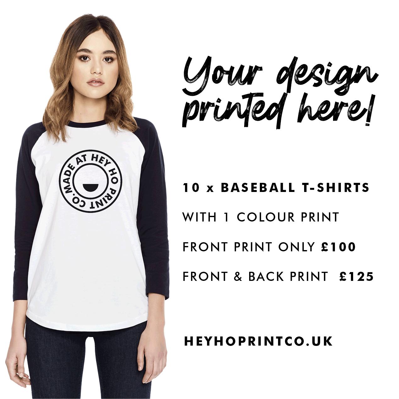 10 x Organic Screen Printed Baseball Tee's Deal