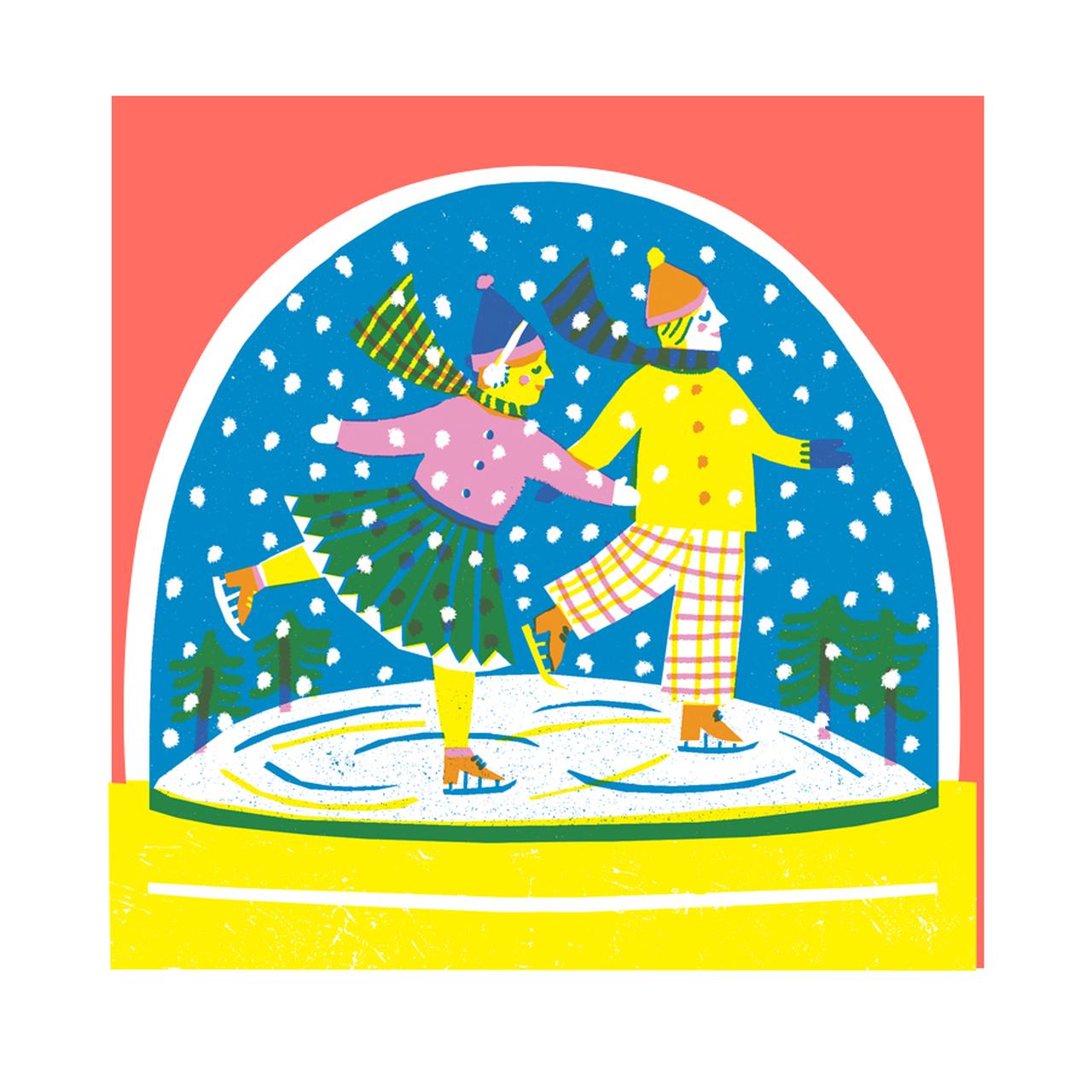 Snowglobe Skaters Christmas Card