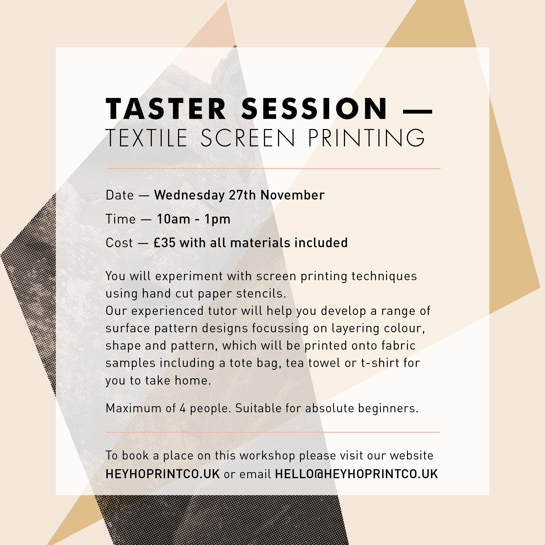 Textile Screen Printing – Taster November 2019