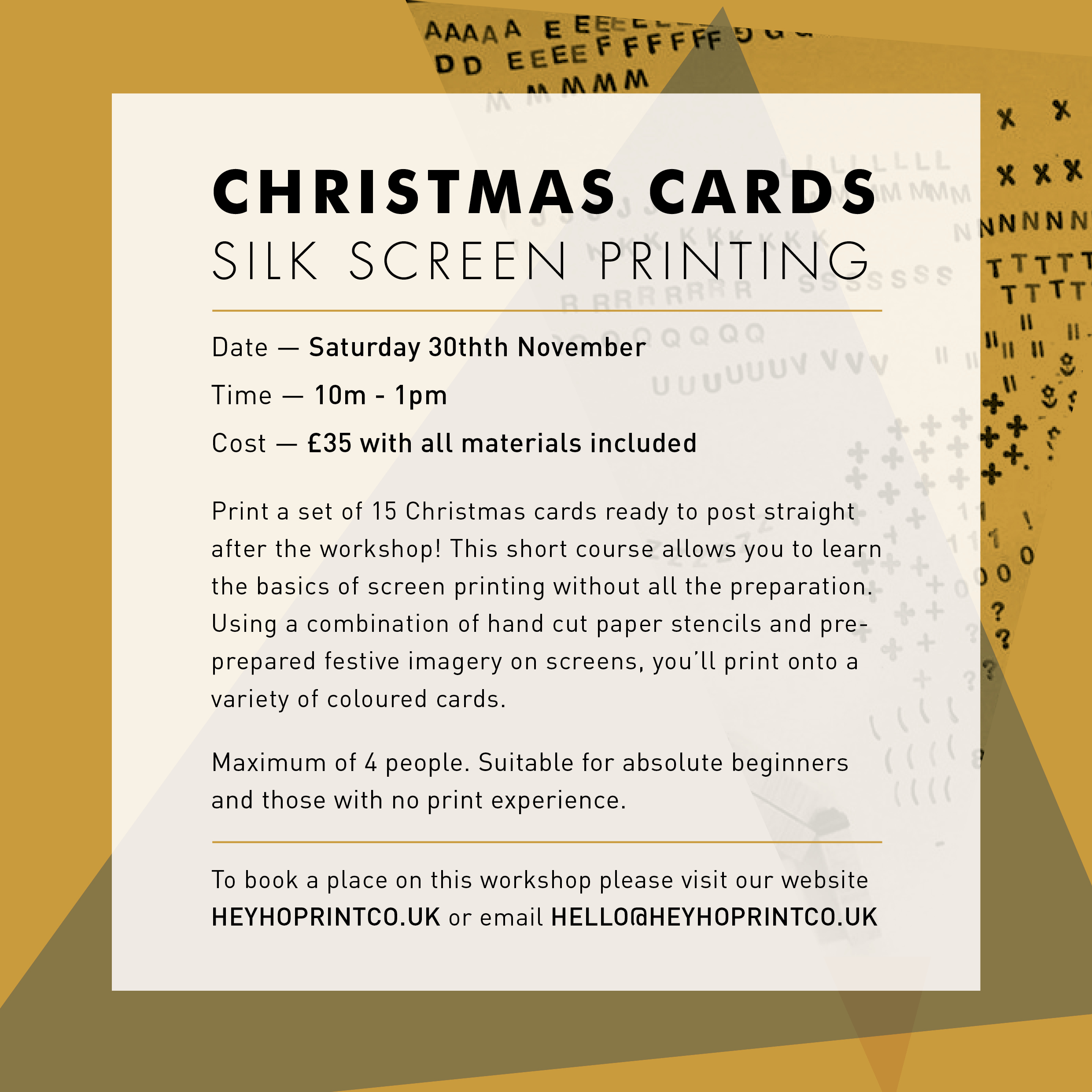 Christmas Cards Screen Printing – 30th November 2019