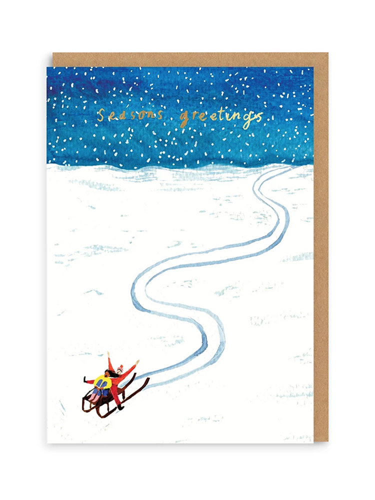 Snow Sledge Christmas Card