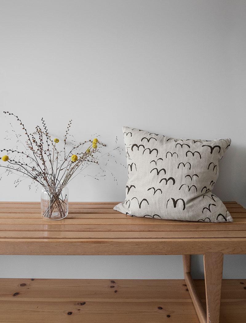 Bird Cushion Cover Black