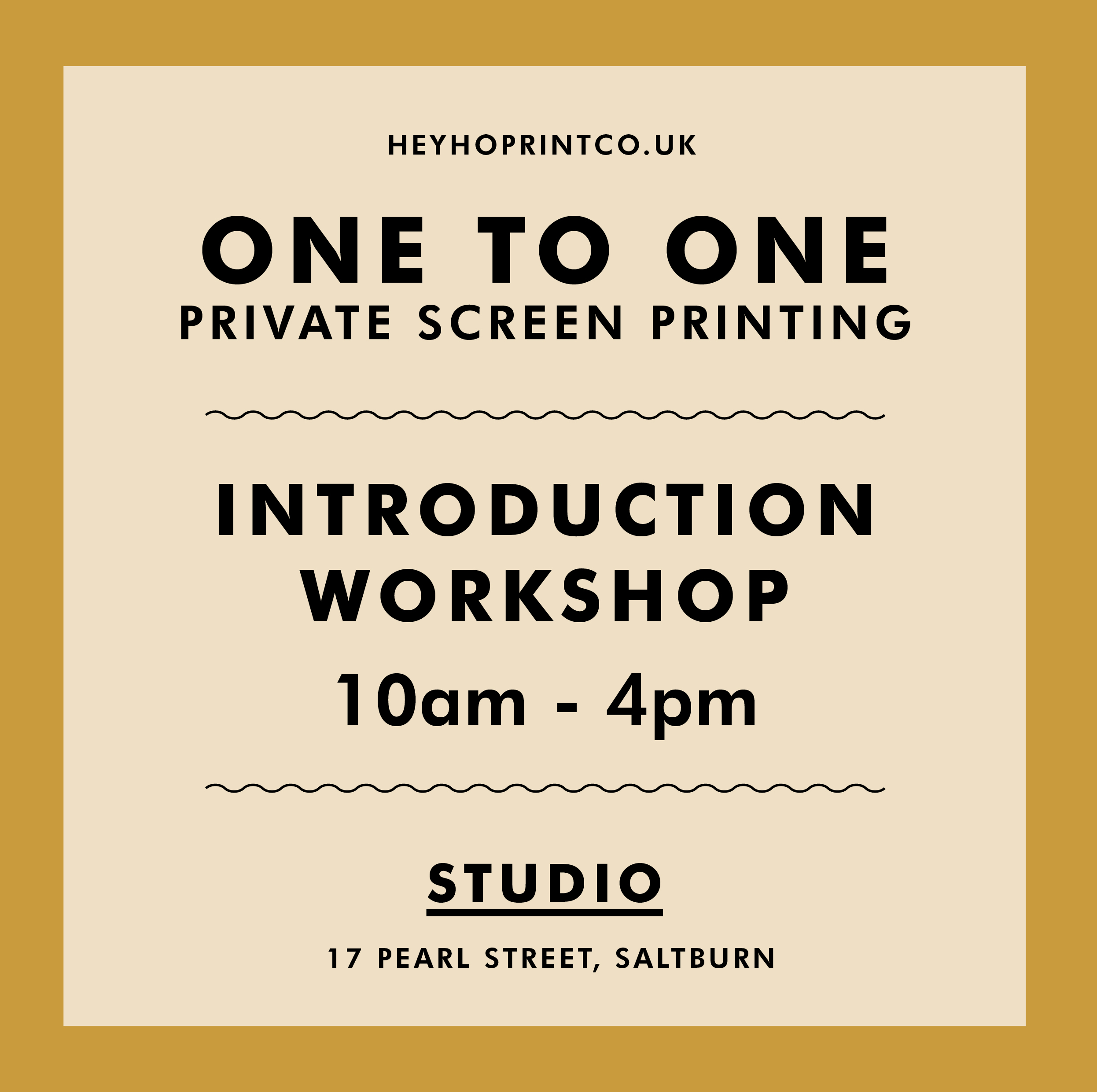 One to One Private Screen Printing Workshop