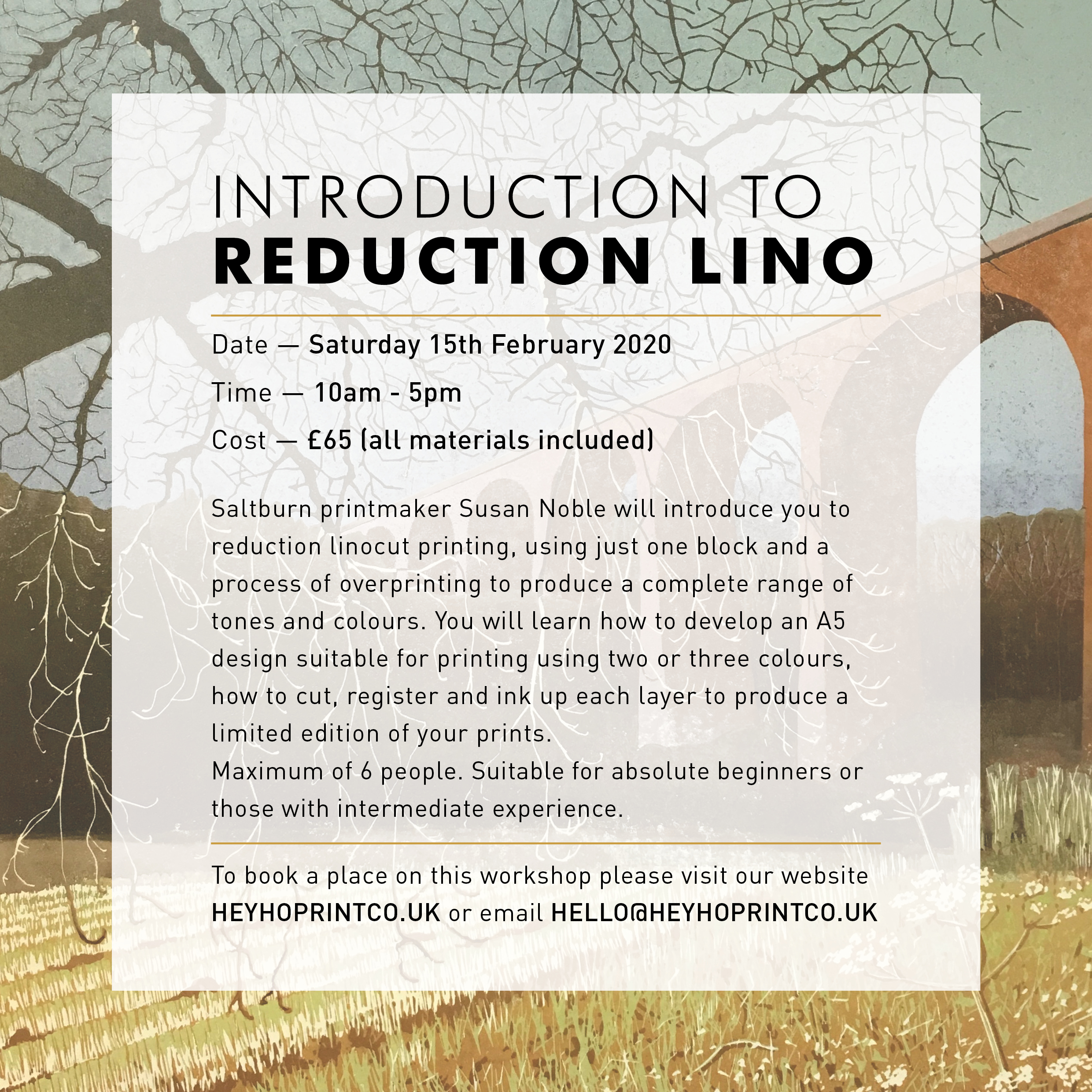 Introduction to Reduction Linocut - One Day February 15th 2020