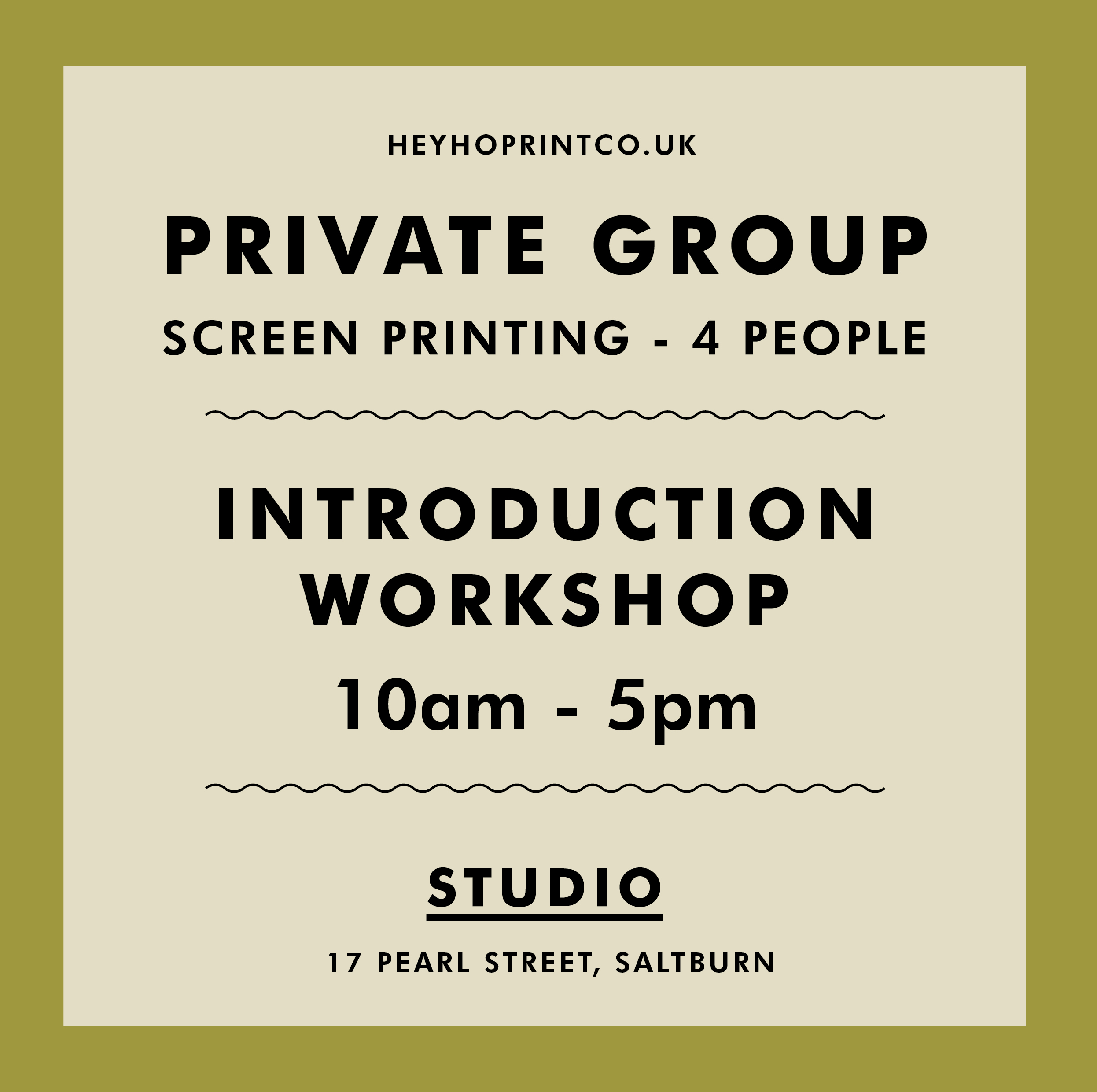 Private Group Screen Printing Workshop