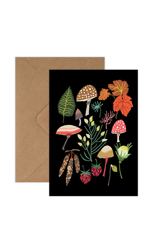 Mushrooms and moss greeting card