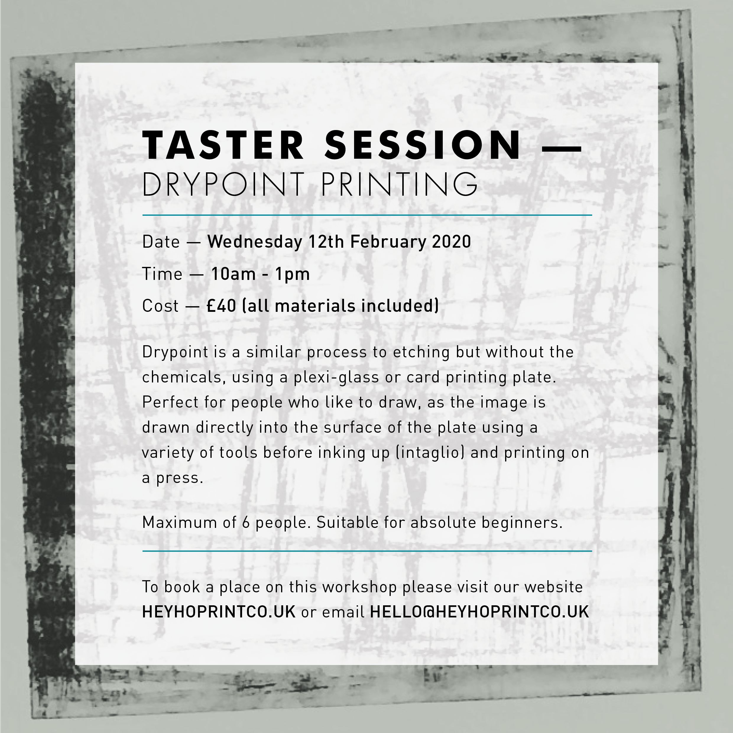 Drypoint Printing - Taster course February 12th 2020
