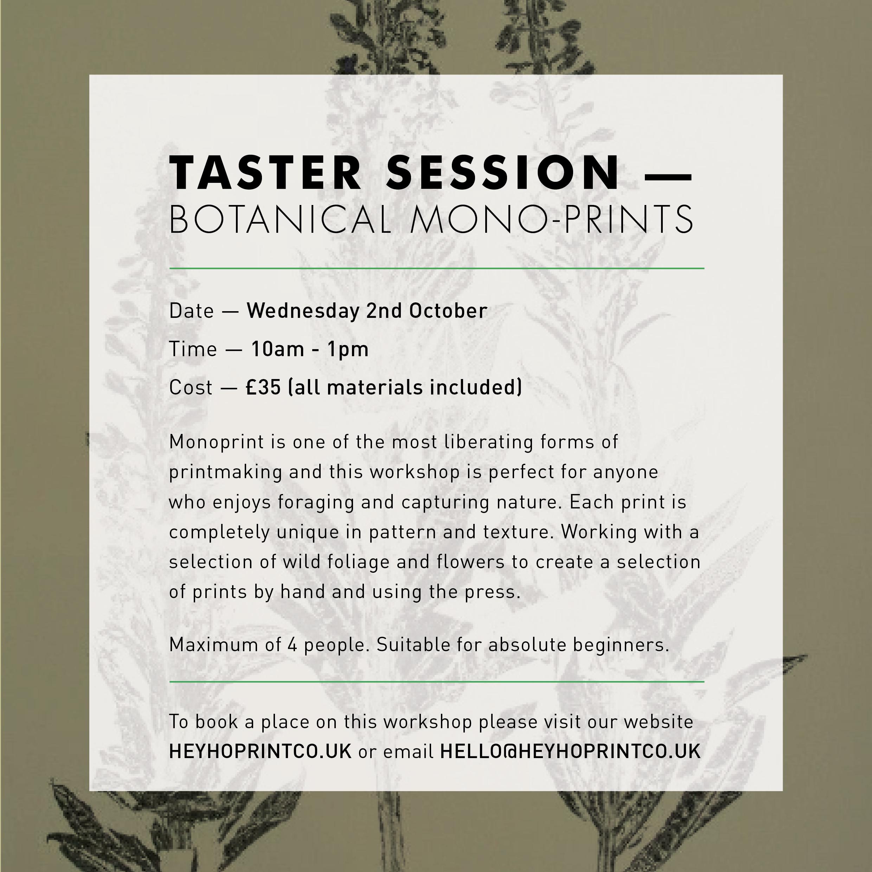 Botanical Monoprinting - Taster October 2019