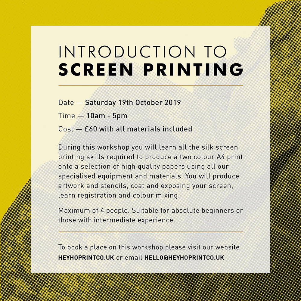Screen Printing - Introduction October 2019