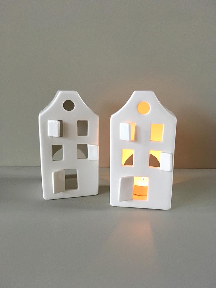 Scandi porclain tealight house