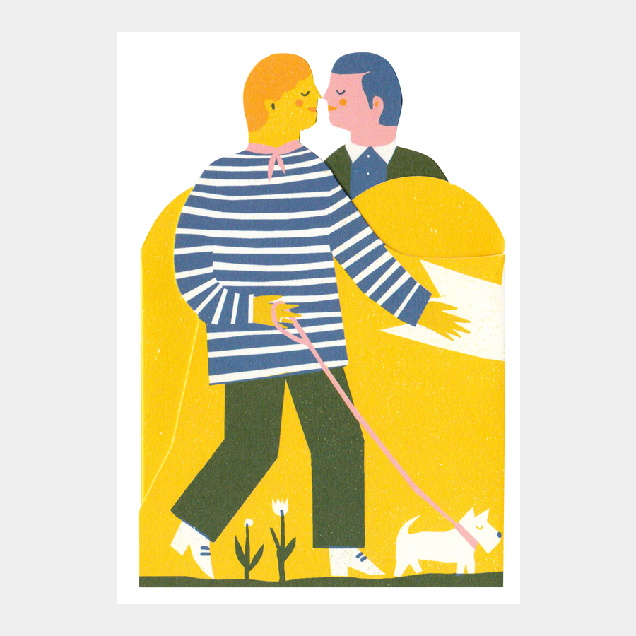 Two men concertina card