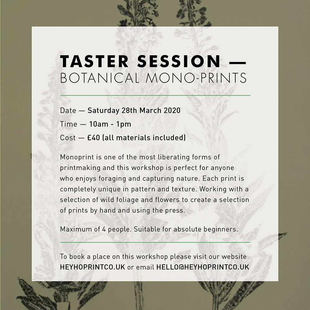 Botanical Monoprinting - Taster session March 28th 2020