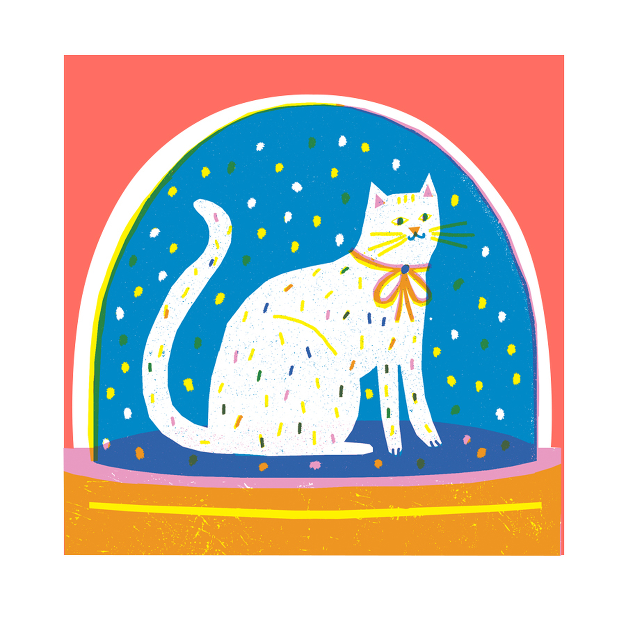 Snowglobe Cat Christmaa Card