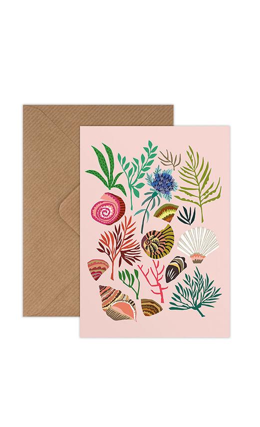Shells and Seaweed greeting card