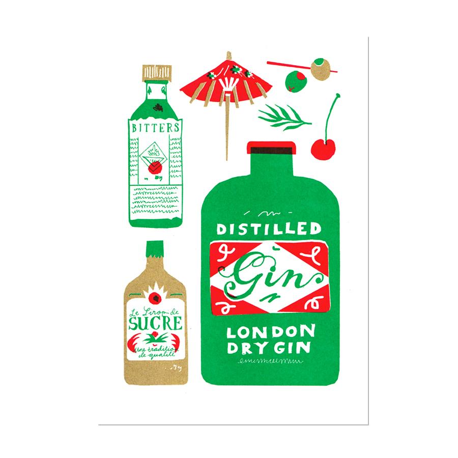 Gin A5 Risograph Print