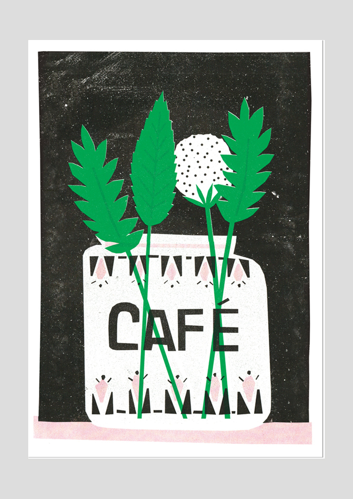 Cafe – A3 Riso print (The Printed Peanut)