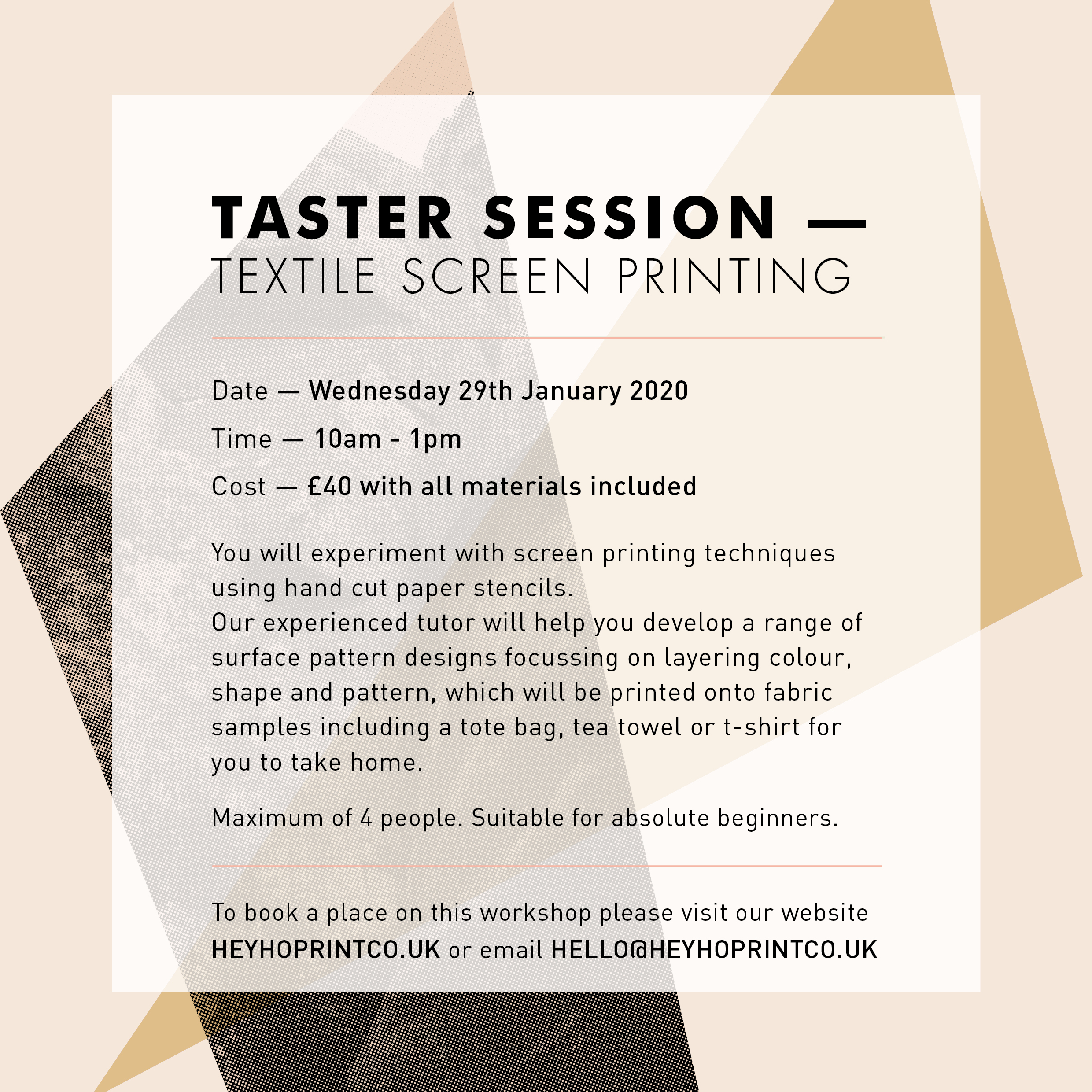 Textile Screen Printing – Taster January 29th 2020