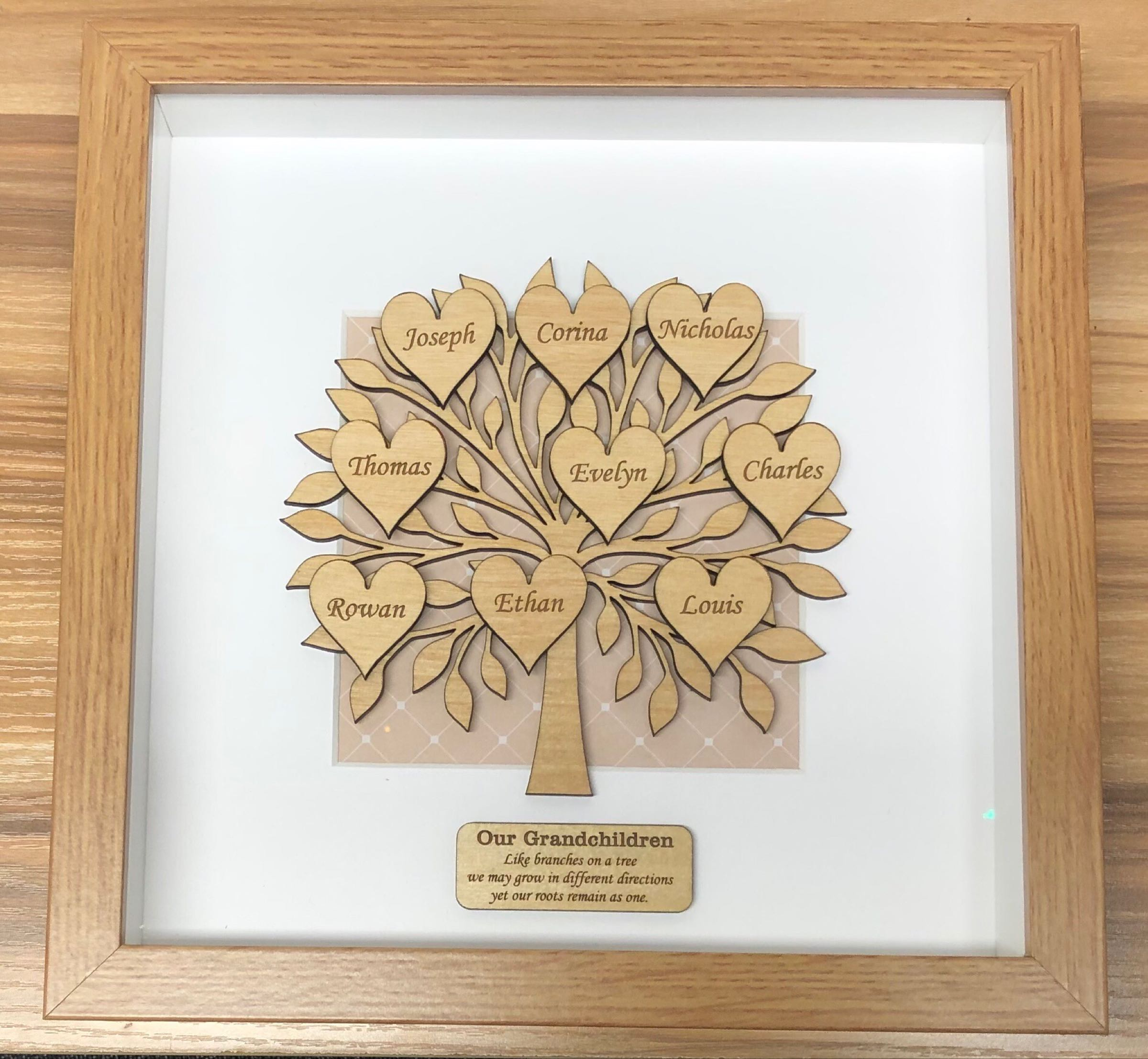 Framed wooden family tree