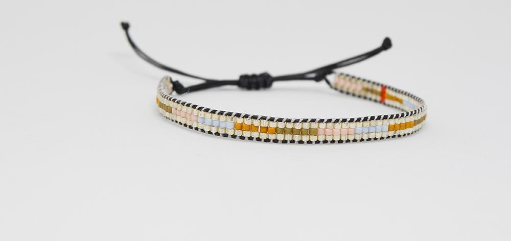 Bracelet, glass beads silvia silver
