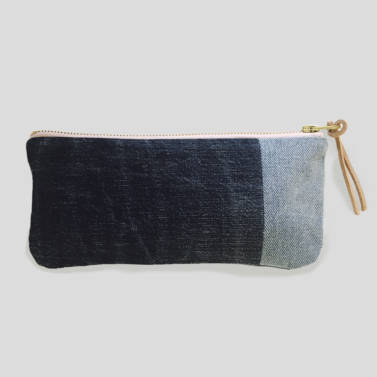 Naked Society denim cosmetic bag