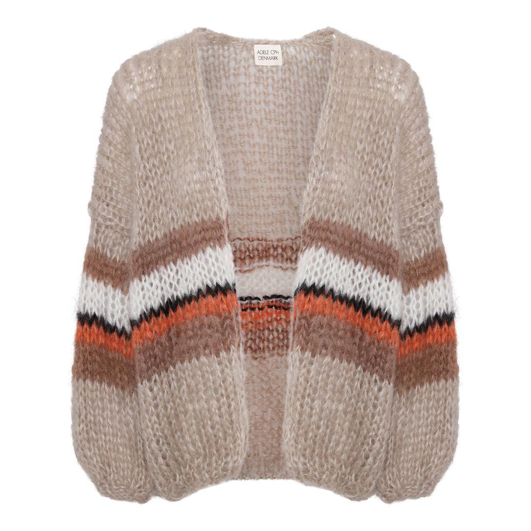 Cardigan mohair, hand knit camel
