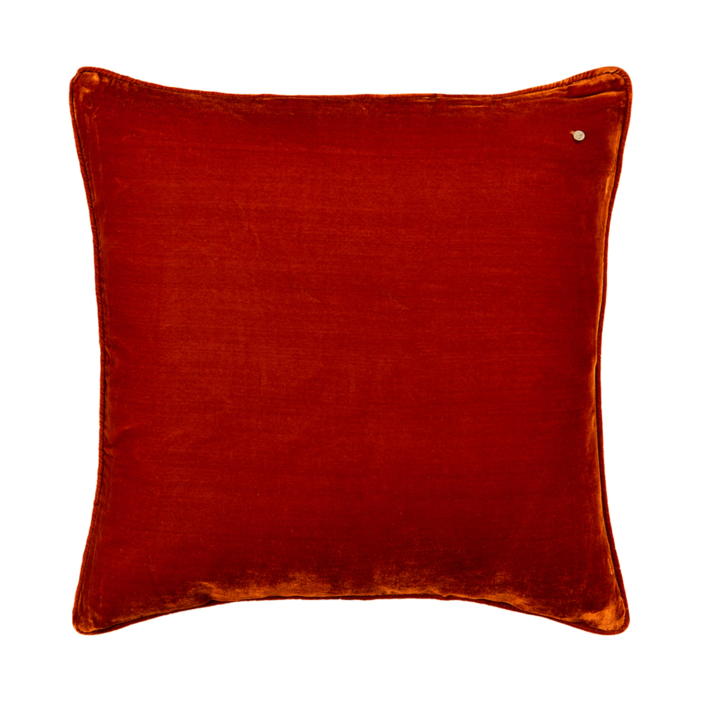 Silk velvet pillow, cayenne