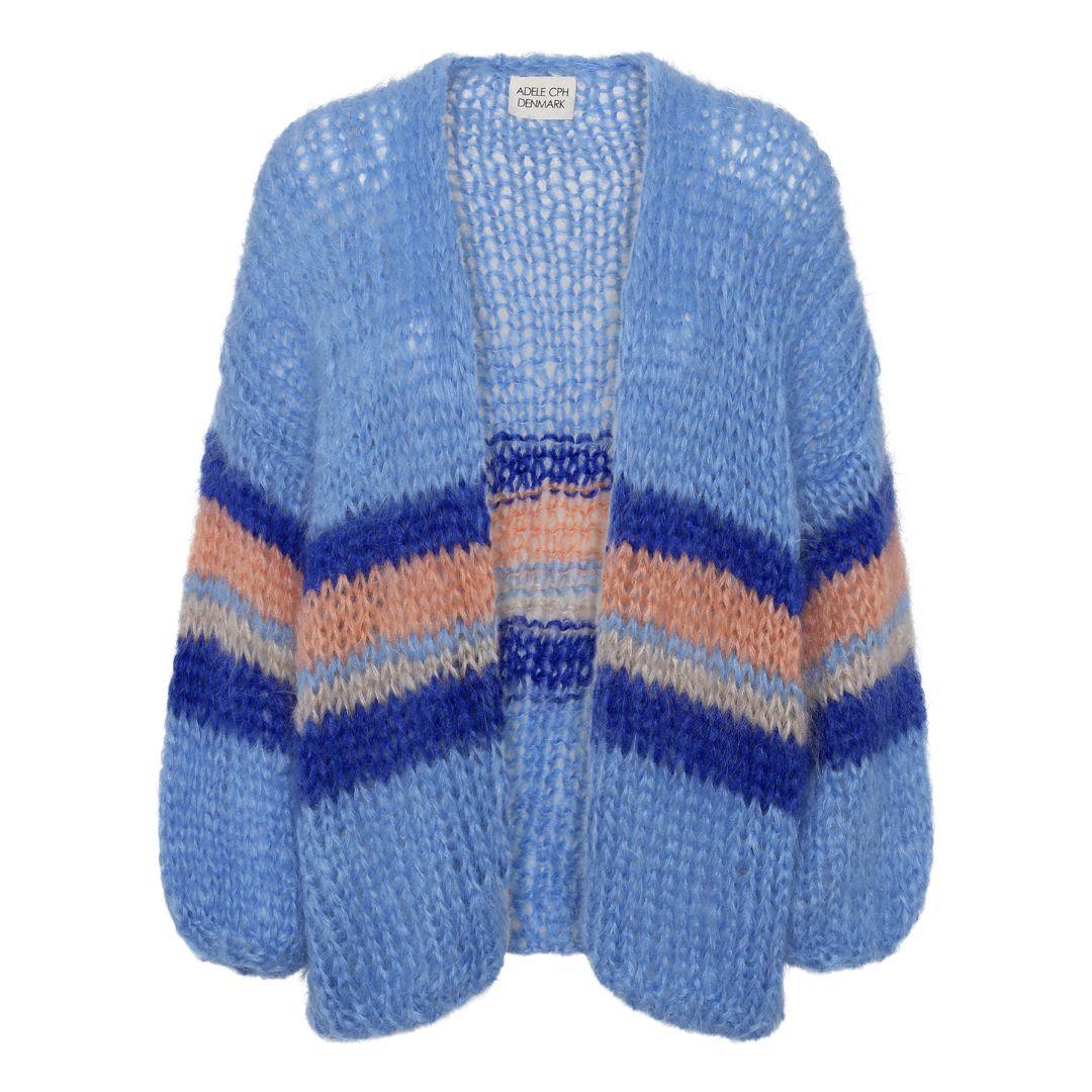 Cardigan mohair, hand knit blue
