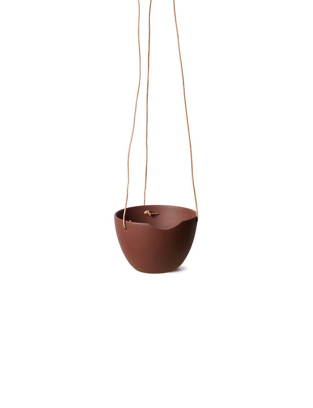 Cut cup grow / bowl with leather string, Anne Black