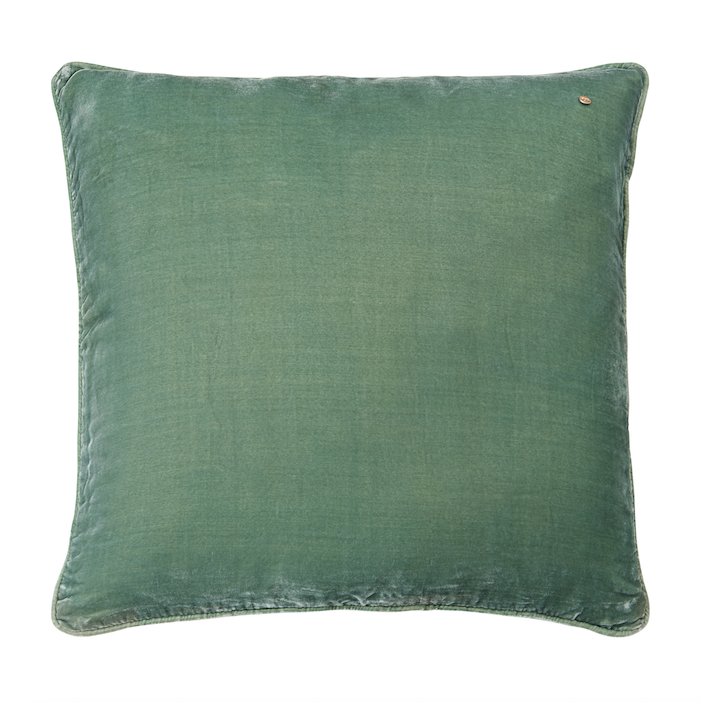 Silk velvet pillow, jade