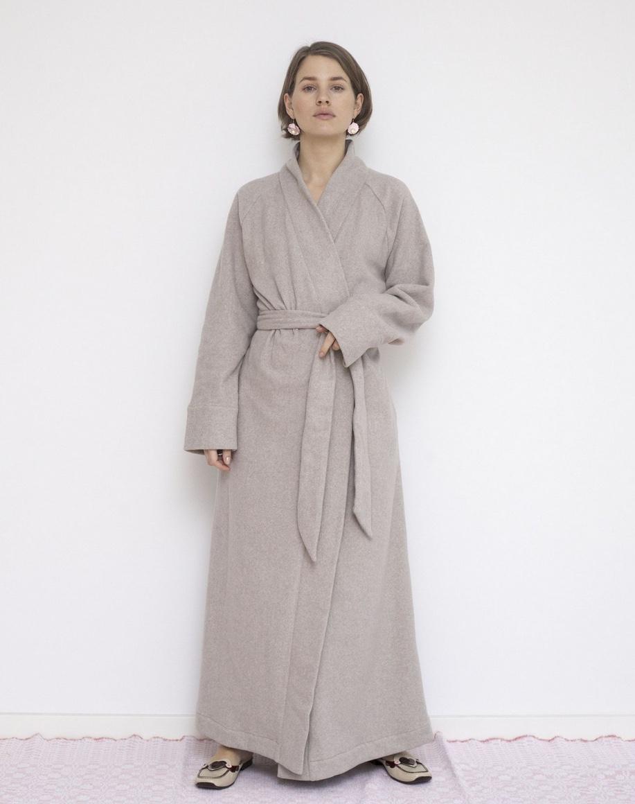 Organic & GOTS cotton fleece robe caffe creme, Vibeke Scott