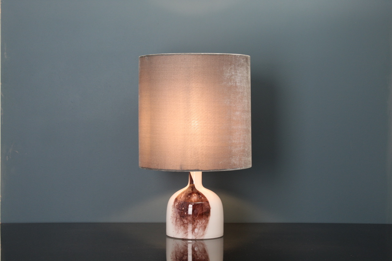SOLD OUT, Glass art table lamp white/brownred