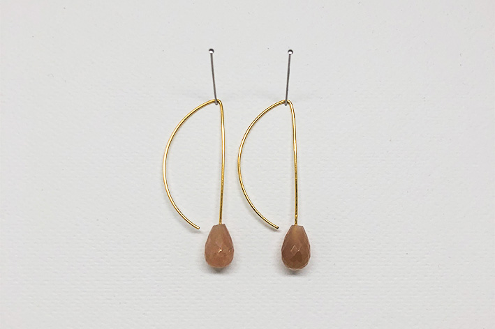 Earring pair, pink moon stone