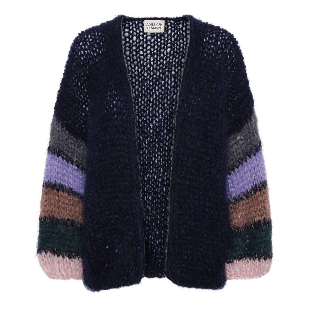 Cardigan mohair, hand knit navy