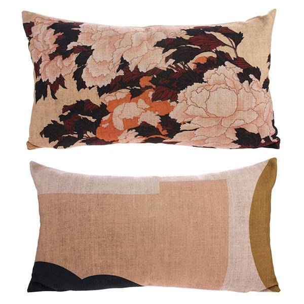 Cushion with Japanse inspired print on the front and an abstract print on the back