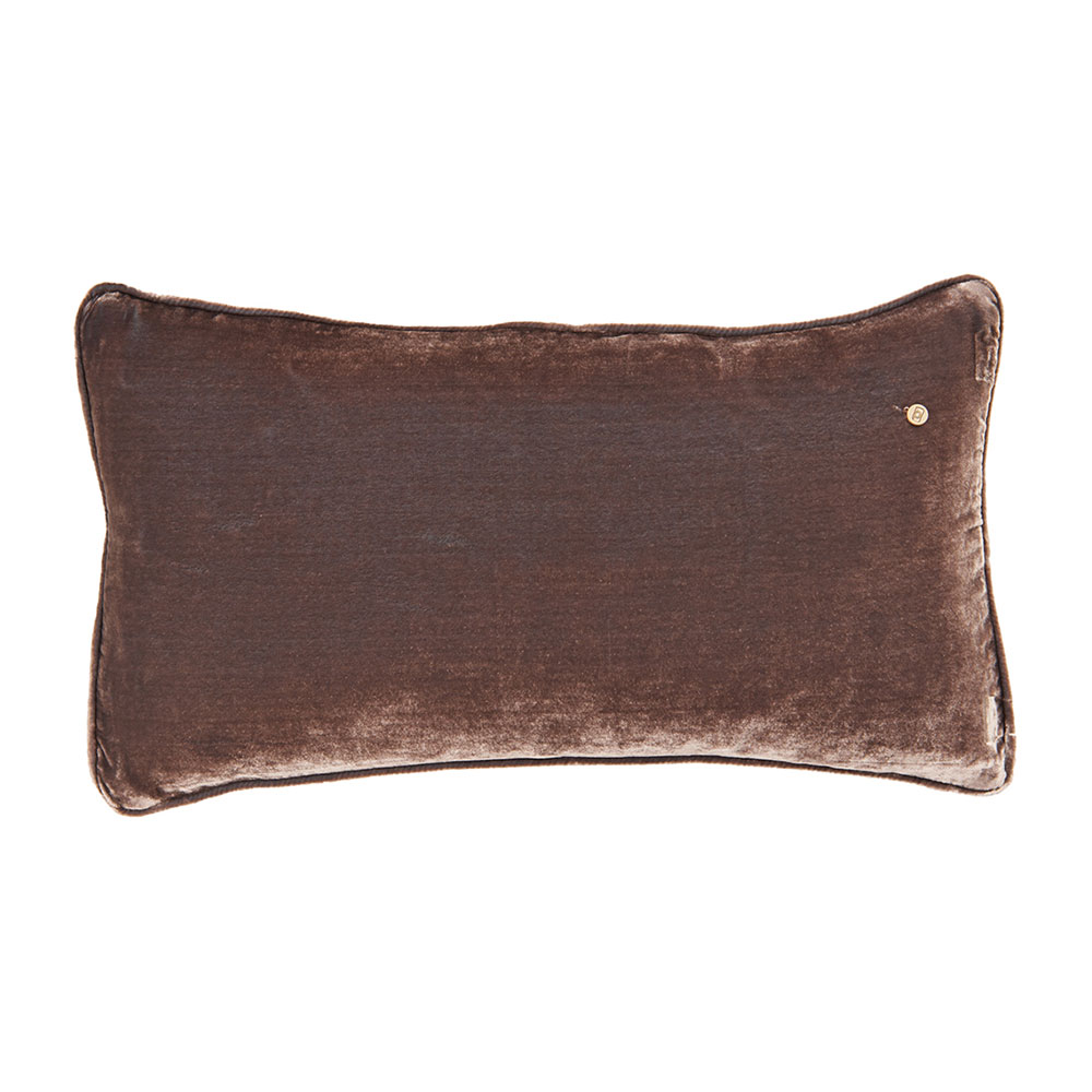 Silk velvet pillow, nougat / coal