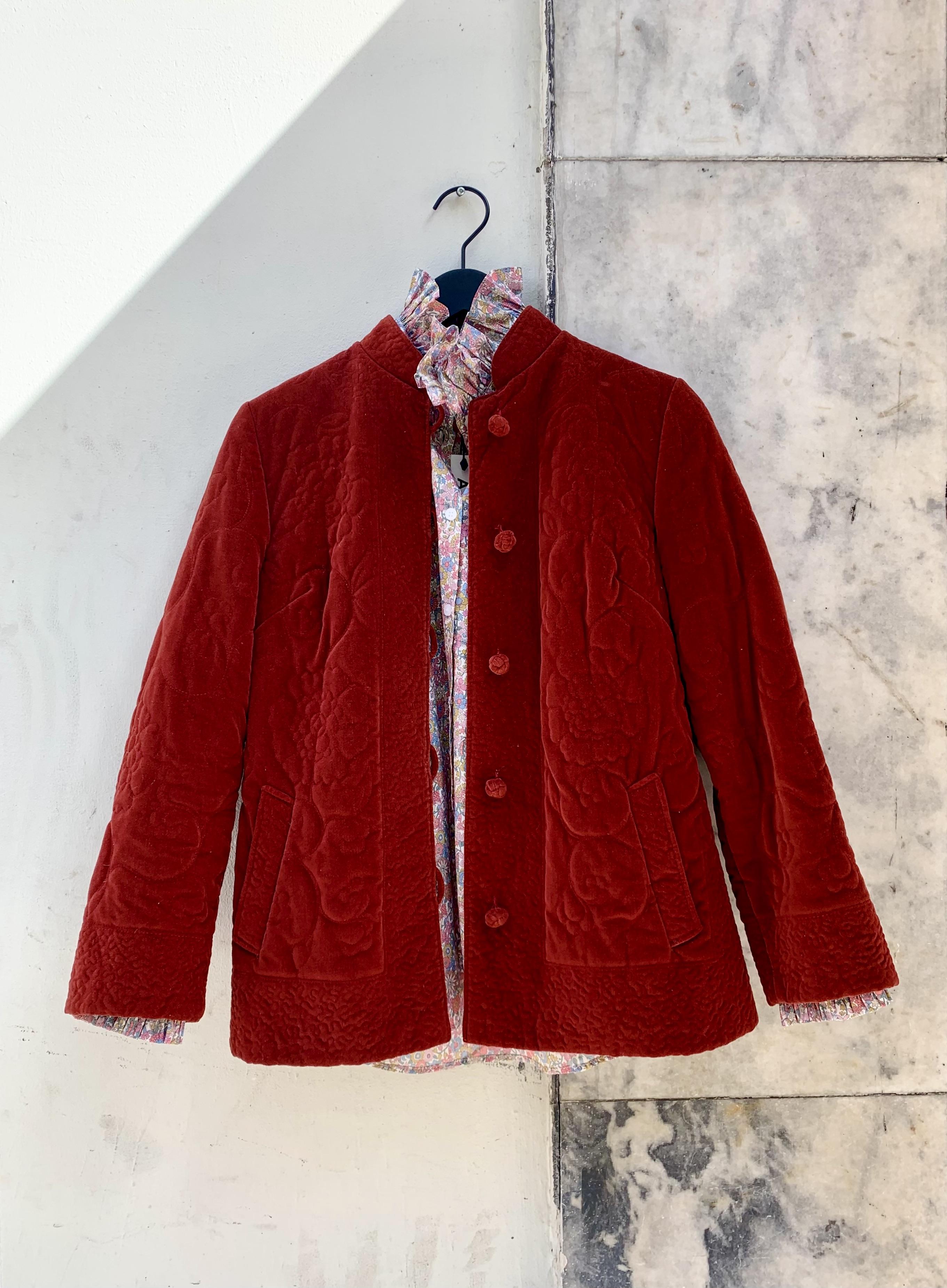 Myre Couture velvet quilt jacket paprika