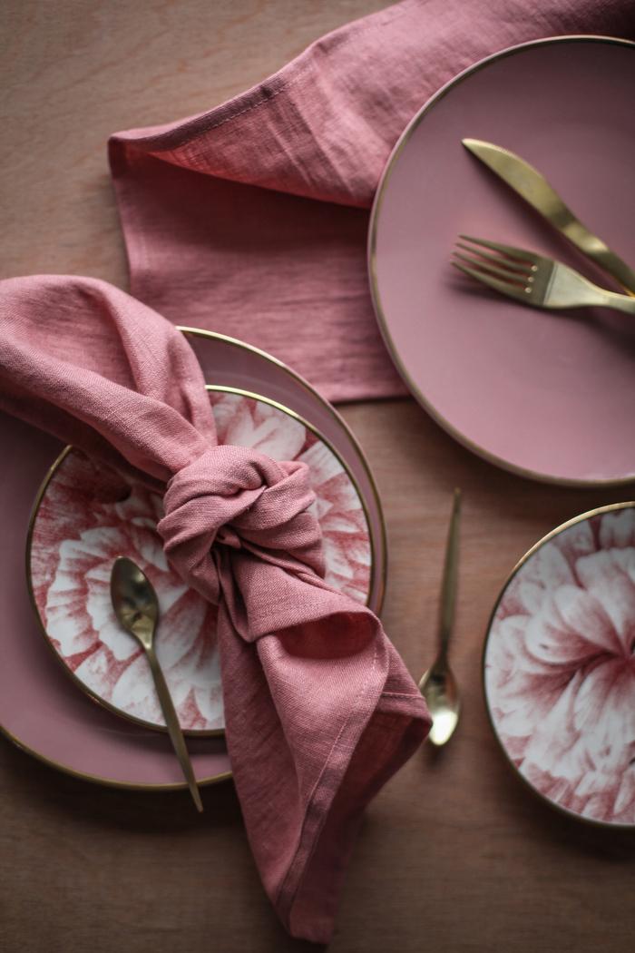 Napkin set, pinky coral