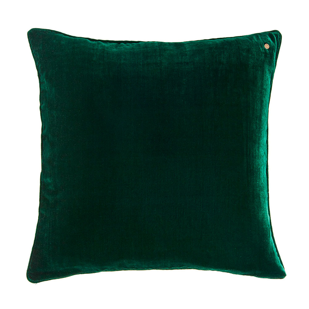 Silk velvet pillow, bottle green