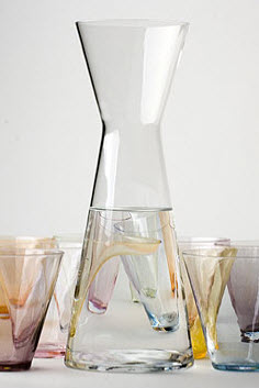 Modern glass caraffel in several colors, less Sia Mai