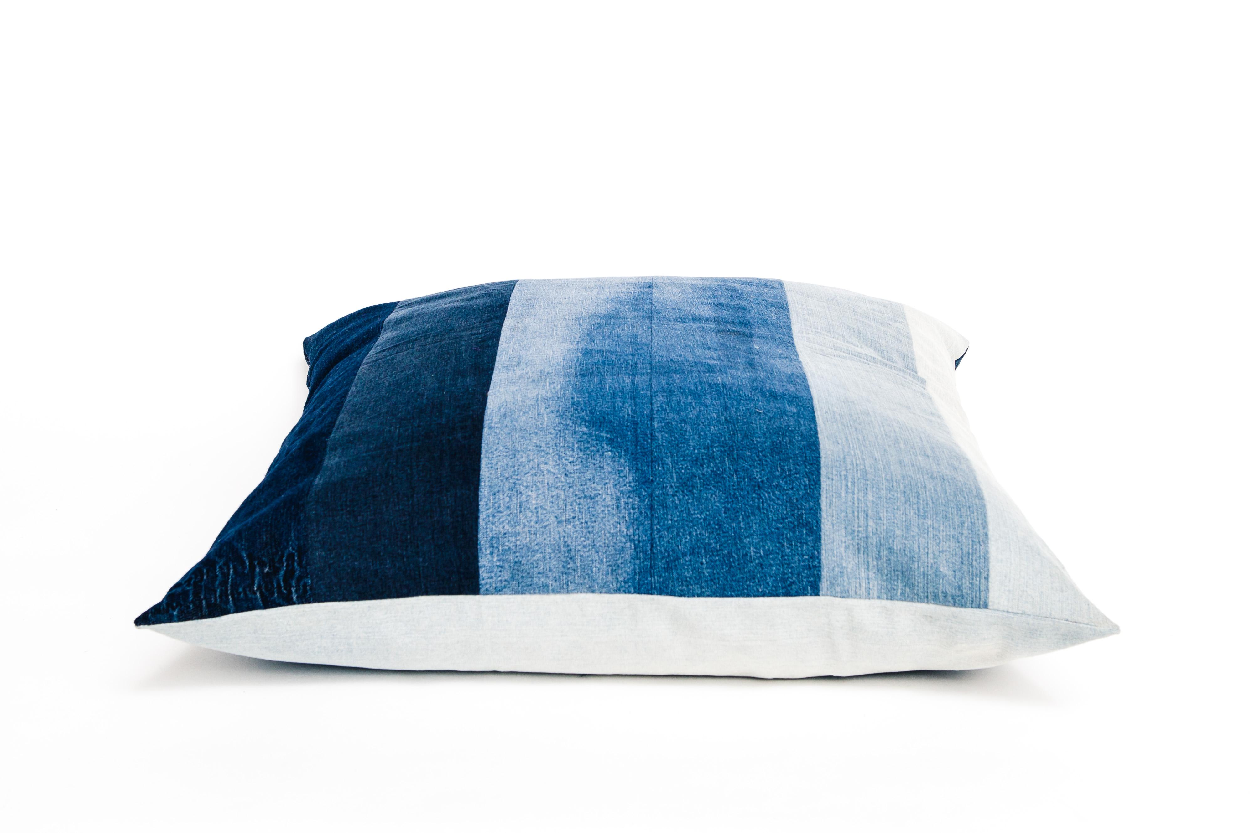 Naked Society upcycled denim cushion stripe 70x70 cm