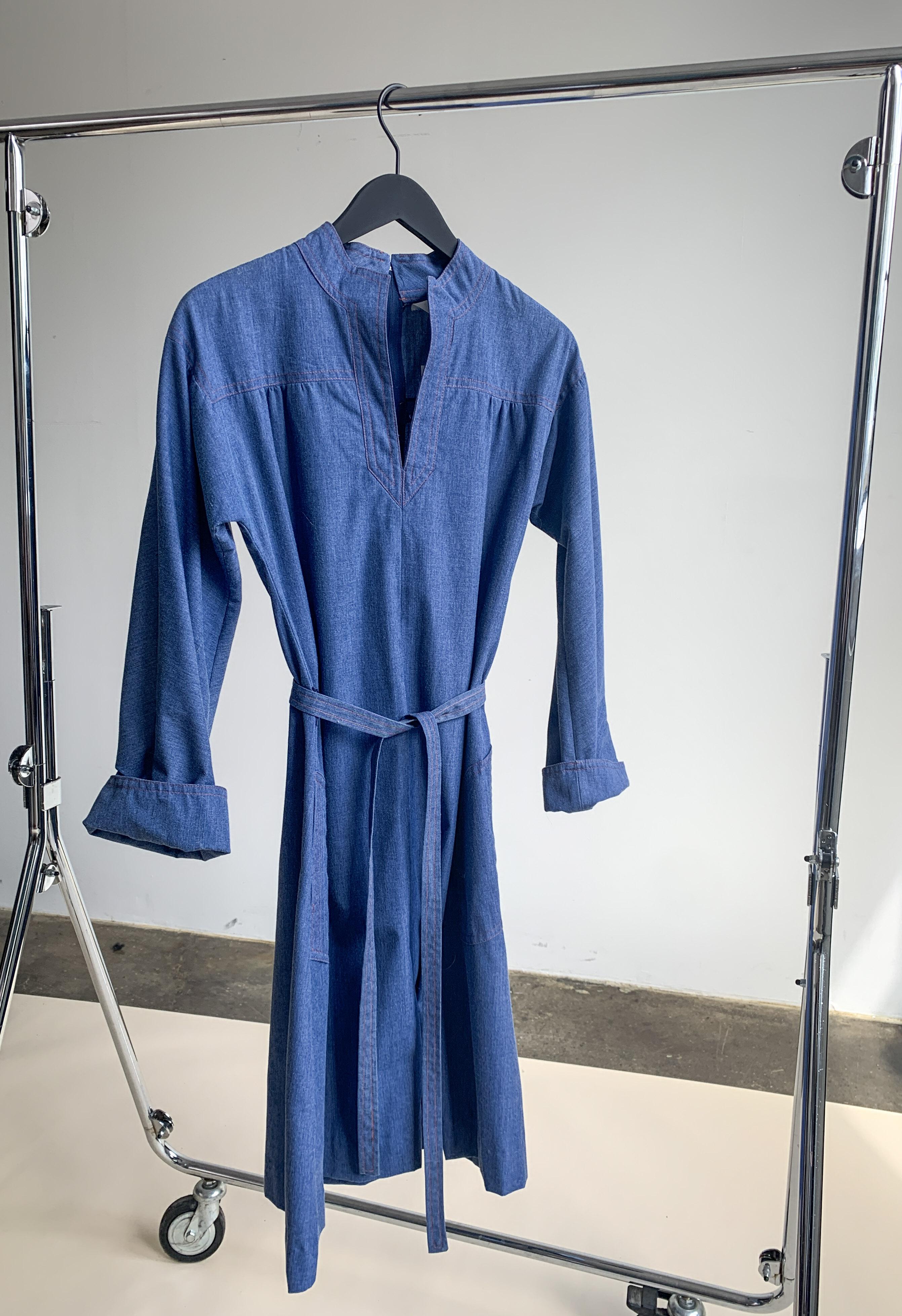 Myre Couture 70s contrast stitch dress